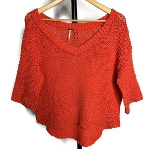 Free People Orange Peach V Neck Open Knit Top